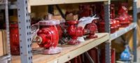 Control valves on shelf