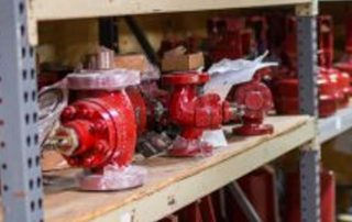 Control valves on shelf